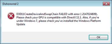 Ошибка D3D11CreateDeviceAndSwapChain Failed в Windows 7
