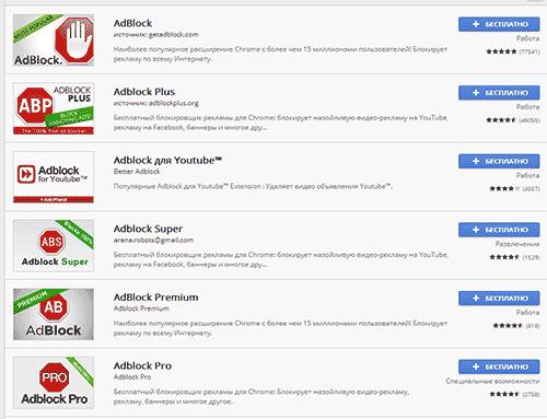 Расширения AdBlock для браузера Google Chrome