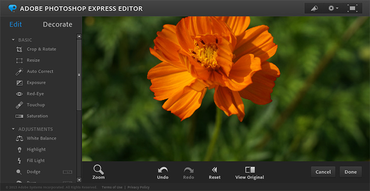 Главное окно Adobe Photoshop Express Editor