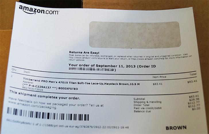 Квитанция заказа Amazon