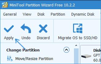 Объединить разделы в Minitool Partition Wizard