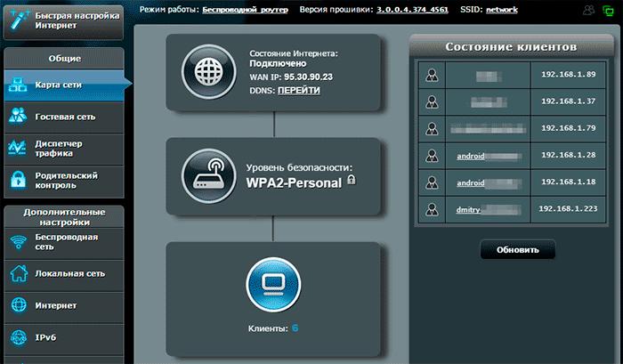 Просмотр подключенных к Wi-Fi на роутере Asus
