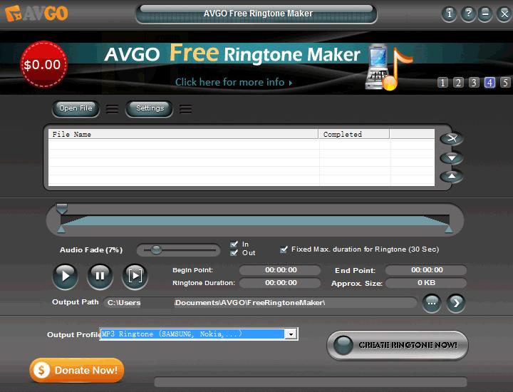Главное окно программы AVGO Free Ringtone Maker