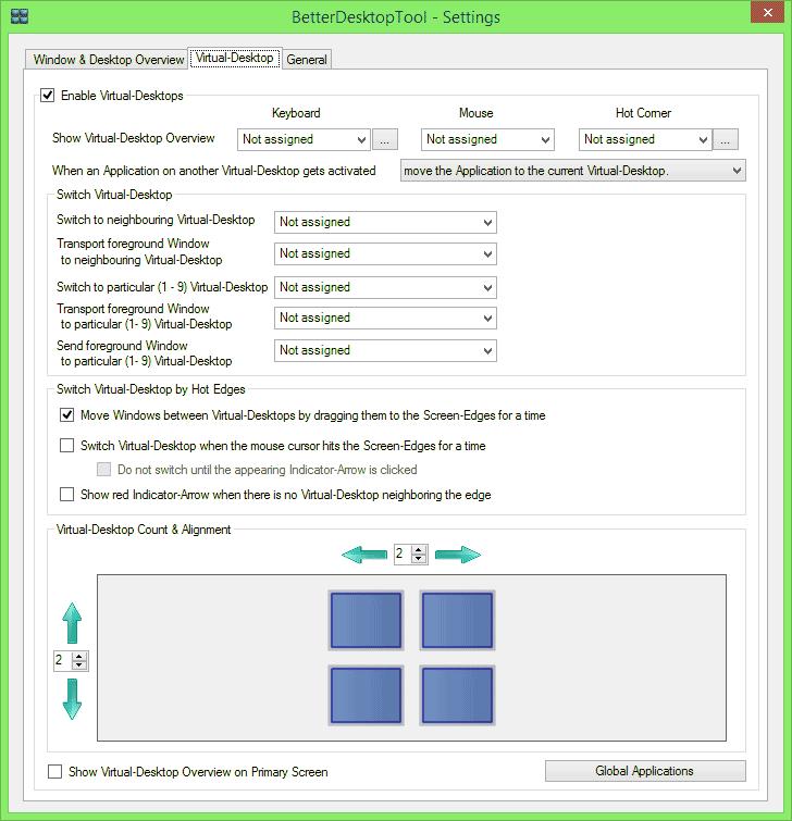 Виртуальные рабочие столы в BetterDesktopTools