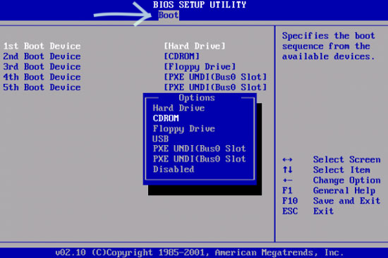 Вкладка Boot в BIOS