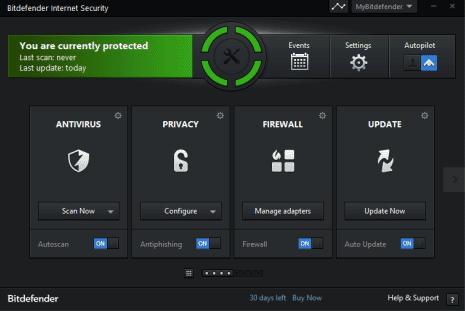 Интерфейс BitDefender Internet Security 2014