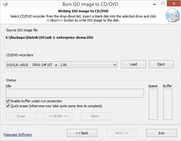 Меню записи ISO на диск
