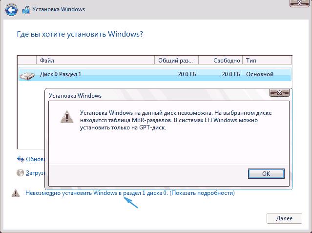 Невозможно установить Windows 10 на выбранный раздел