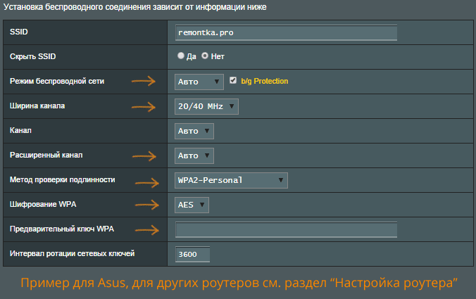 Изменение параметров беспроводной сети