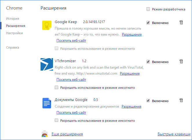 Настройки расширений Google Chrome