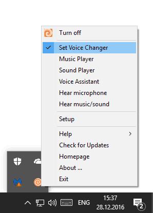 Меню Clownfish Voice Changer