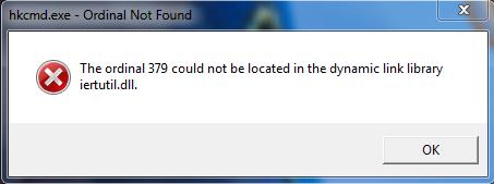 Порядковый номер не найден в библиотеке DLL iertutil.dll
