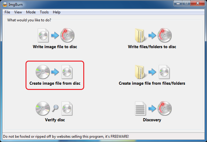 Создать ISO с диска в ImgBurn