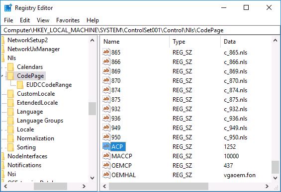 Установленный регион Windows 10 в реестре