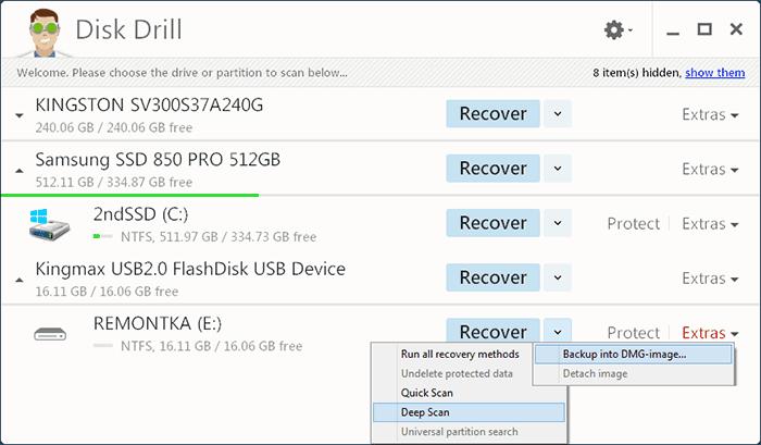 Главное окно Disk Drill for Windows