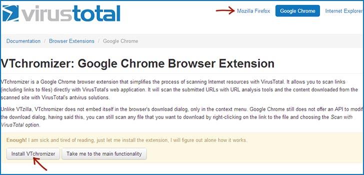 Загрузка расширения браузера VirusTotal