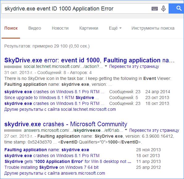 Поиск информации об ошибке по Event ID