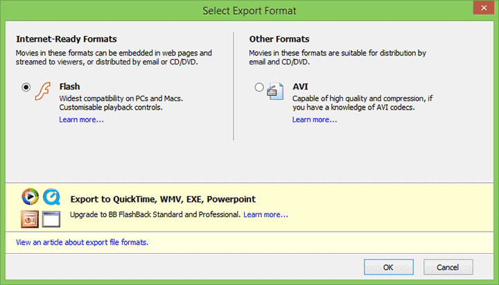 Экспорт видео в Flashback Recorder