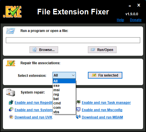 Программа File Extension Fixer