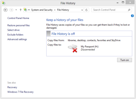 file history windows 8