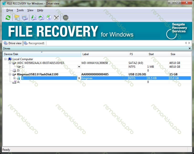 Восстановление файлов с флешки — главное окно