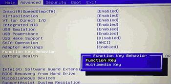 Настройки клавиши Fn для ноутбуков Dell в БИОС