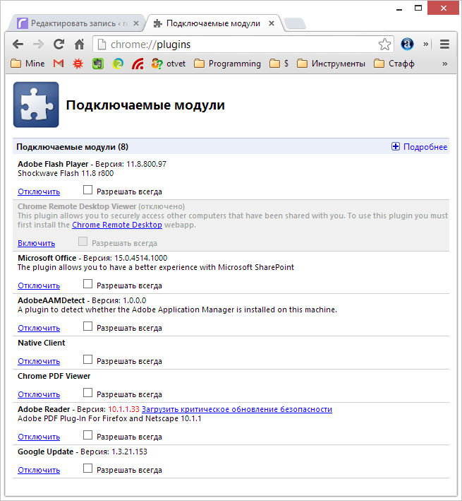 Установленные в Google Chrome плагины