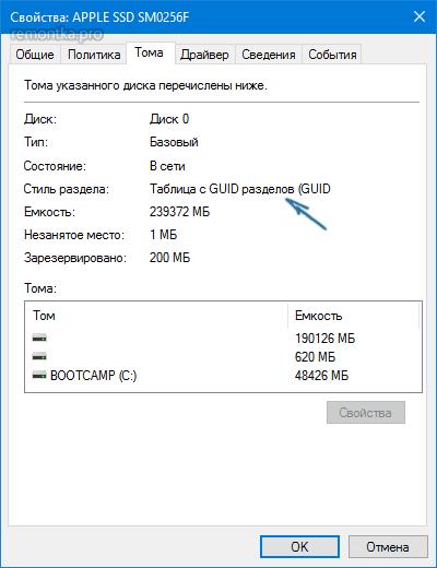Свойства GPT-диска