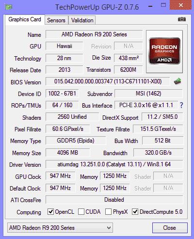 Информация о видеокарте в GPU-Z