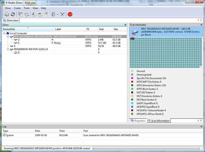 Восстановление жестких дисков в R-Studio