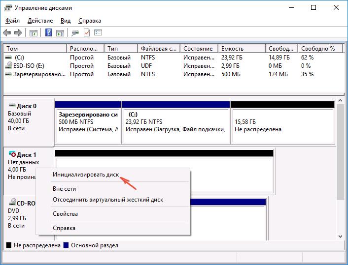 Инициализация жесткого диска в windows 8