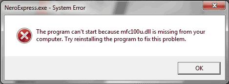 Ошибка mfc100u.dll отсутствует при запуске Nero