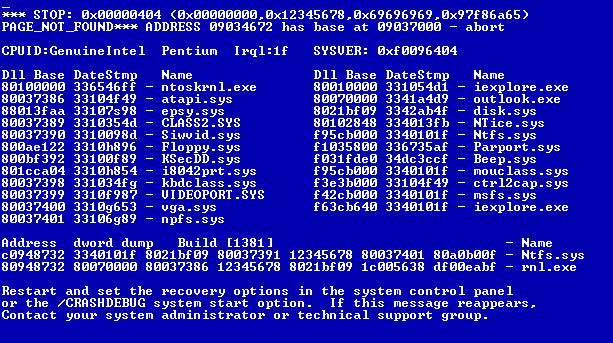 Синий экран смерти Windows в Bluescreens