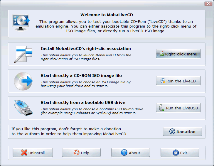 Главное окно программы MobaLiveCD