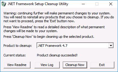 Утилита .NET Framework Cleanup Tool