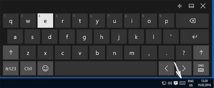 Запуск экранной клавиатуры из панели задач