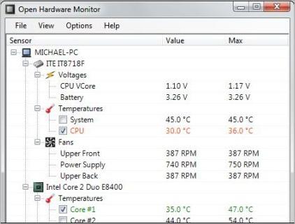 Проверка температуры ноутбука с помощью Open Hardware Monitor