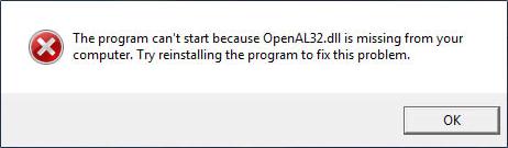 Ошибка openal32.dll в игре