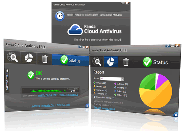 Окна Panda Cloud Antivirus