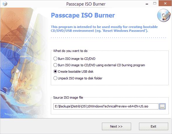 Бесплатная запись дисков в  Passcape ISO Burner