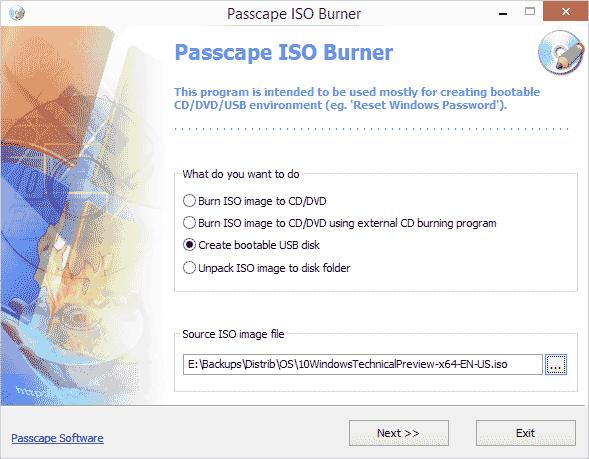 Главное окно Passcape ISO Burner