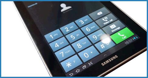 Номеронабиратель на планшете Samsung