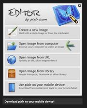 Открытие фотографии в Pixlr
