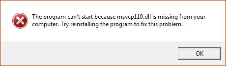 Сообщение об ошибке msvcp110.dll в Windows