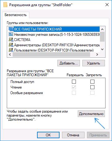 Параметры разрешений для параметра ShellFolder