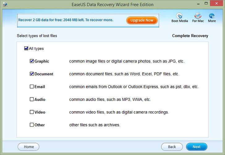 Типы файлов для восстановления