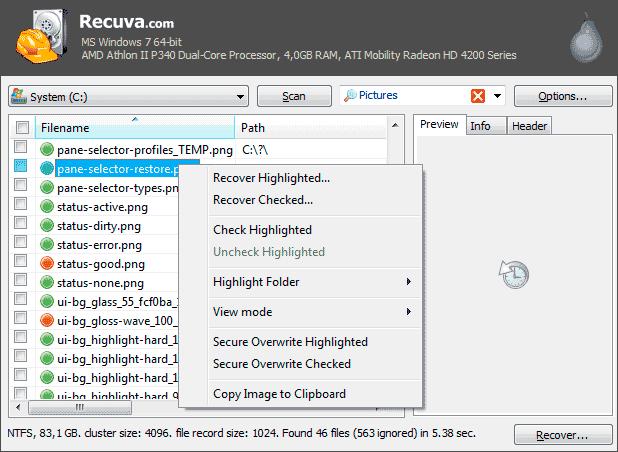 Восстановление данных в Recuva