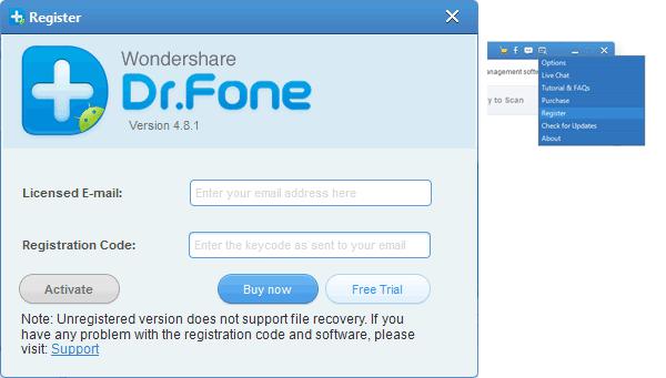Регистрация программы Dr. Fone