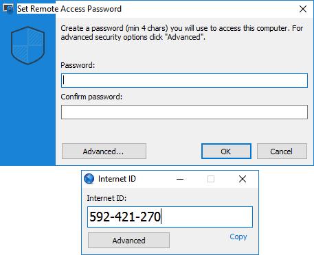 Пароль и ID для удаленного доступа