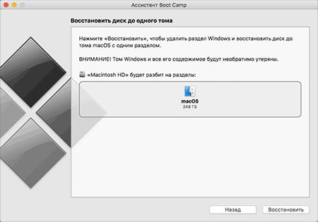 Удаление Windows с диска Mac